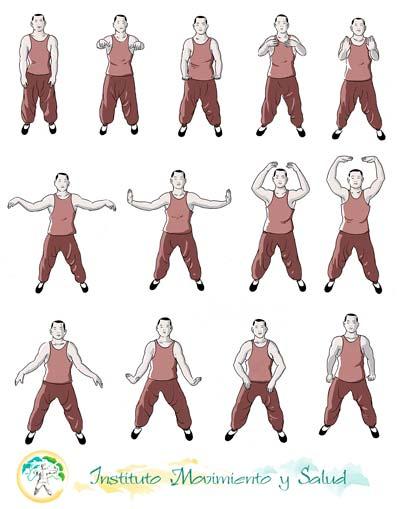 Imágenes propiedad del Instituto Movimiento y Salud para sus apuntes del curso de Qigong de Salud. Ilustraciones de Jose Mª Velasco.